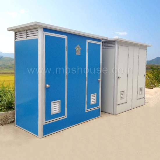 Prefabricated Double Toilet Position Outdoor Portable Mobile Toilet